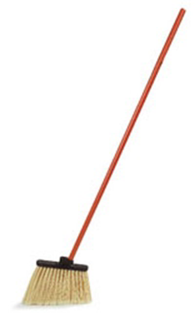 "Carlisle 3686500 48"" Lobby Angle Broom - Black Metal Handle, Flagged Polypropylene Bristles"