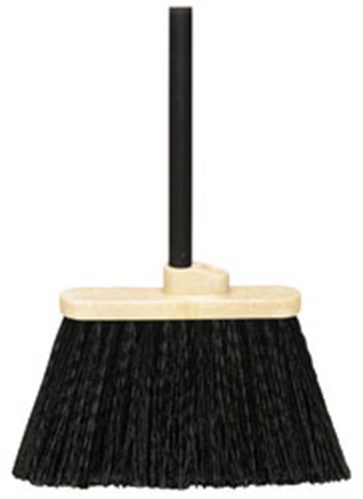 "Carlisle 3688403 13"" Warehouse Broom - 48"" Blue Metal Handle, Flagged Bristles, Black"
