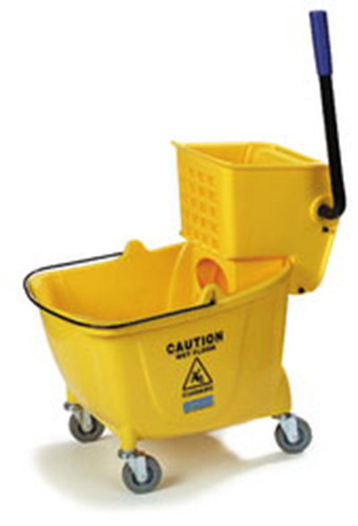 Carlisle 3690404 35-qt Mop Bucket Combo - Side Press Wringer, Polyethylene, Yellow