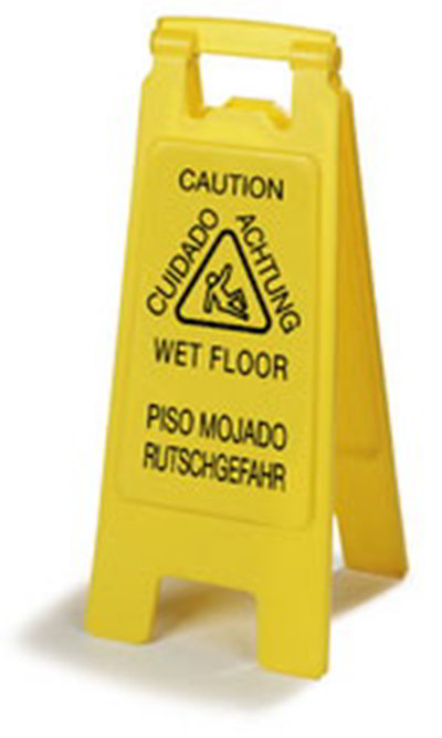 "Carlisle 3690904 Wet Floor Safety Sign - 11x25"" 2-Sided, Multi-Lingual, Polypropylene, Yellow"