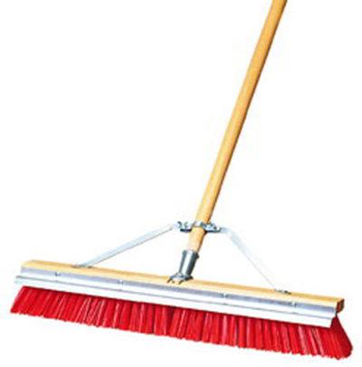 "Carlisle 36952424 24"" ScraperBroom Sweep - Coarse/Heavy, Hardwood Block, Orange Bristles"