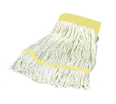 Carlisle 369550B00 Wet Mop Head - 4-Ply, Synthetic/Cotton Yarn, White/Yellow