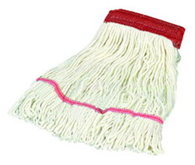 Carlisle 369552B00 Wet Mop Head - 4-Ply, Synthetic/Cotton Yarn, White/Red