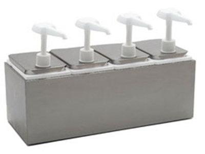 "Carlisle 38504 Topping Rail Dispenser - 19-1/4x7-3/4x12-1/2"" Quad Unit, Stainless"