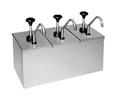 "Carlisle 386230IB Topping Rail Dispenser - 15-7/8x7-1/2x13"" Insulated, Triple Unit, Stainless"