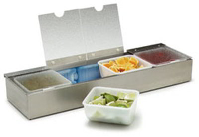 "Carlisle 38704CSIB Condiment Dispenser Caddy - 25-1/8x7-5/8x3-5/8"" Countertop, Acrylic/Stainless"