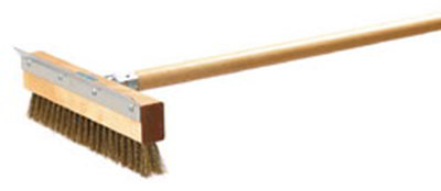 "Carlisle 4029300 10"" Oven Brush with Scraper Head - Brass"