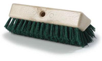 "Carlisle 4042309 10"" Hi-Lo Floor Brush Head - Crimped Synthetic Bristles, Poly, Green"