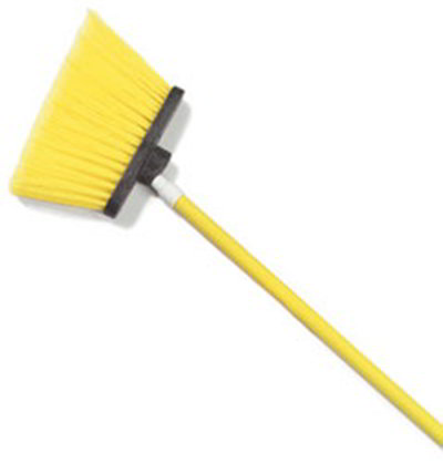 "Carlisle 4108204 12"" Angle Broom - 48"" Fiberglass Handle, Flagged Bristles, Yellow"