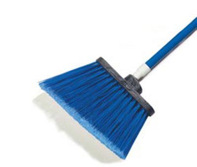 """Carlisle 4108214 12"""" Angle Broom - 48"""" Fiberglass Handle, Flagged Bristles, Blue"""