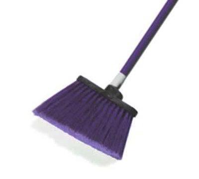 """Carlisle 4108268 12"""" Angle Broom - 48"""" Fiberglass Handle, Flagged Bristles, Purple"""