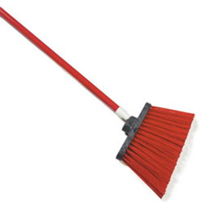 "Carlisle 4108305 12"" Angle Broom - 48"" Handle, Unflagged Bristles, Red"
