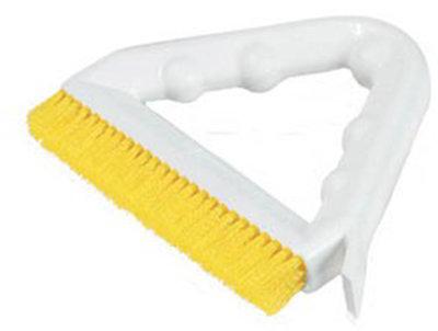 "Carlisle 4132304 9"" Tile/Grout Brush - Triangular, Poly/Plastic, Yellow"