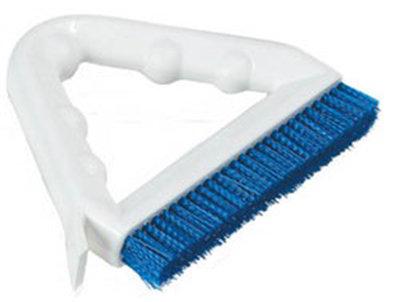 "Carlisle 4132314 9"" Tile/Grout Brush - Triangular, Poly/Plastic, Blue"