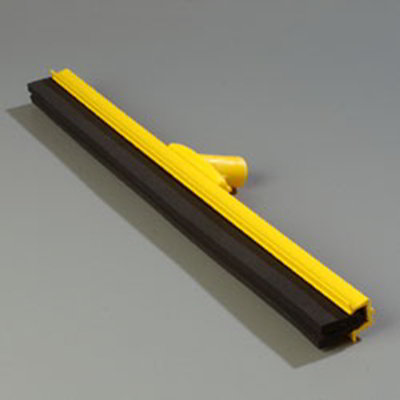 "Carlisle 4156804 24"" Hygienic Floor Squeegee Head - Double Foam, Plastic Frame, Yellow"