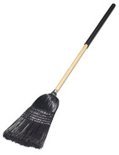 Carlisle 4167903 Warehouse/Janitor Upright Broom - Foam Gripped Wood Handle, Black Bristles