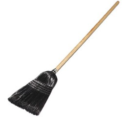 Carlisle 4168003 Maid/Parlor Broom - Foam Gripped Wood Handle, Black Bristles