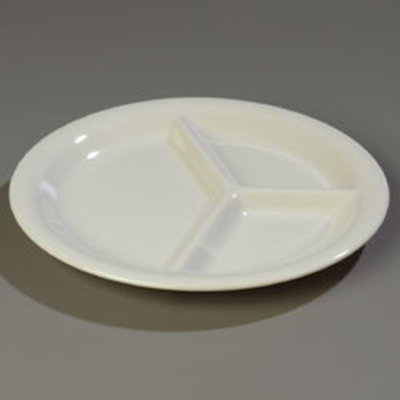 "Carlisle 4300042 10-1/2"" 3-Compartment Plate - Melamine, Bone"