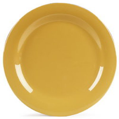 "Carlisle 4300222 10-1/2"" Durus Dinner Plate - Narrow Rim, Melamine, Honey Yellow"