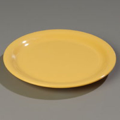 "Carlisle 4301022 10-1/2"" Durus Dinner Plate - Wide Rim, Melamine, Honey Yellow"