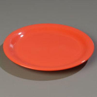 "Carlisle 4301052 10-1/2"" Durus Dinner Plate - Wide Rim, Melamine, Sunset Orange"