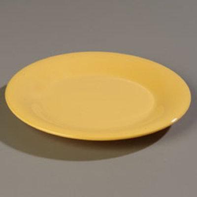 "Carlisle 4301222 9"" Durus Dinner Plate - Wide Rim, Melamine, Honey Yellow"