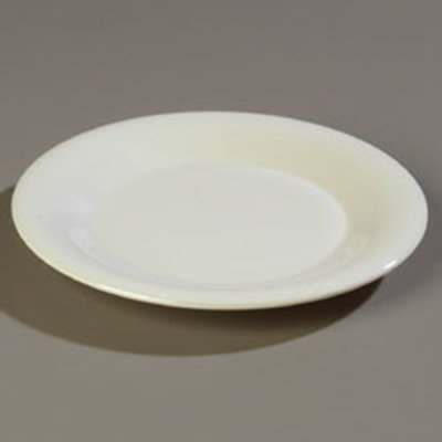 "Carlisle 4301242 9"" Durus Dinner Plate - Wide Rim, Melamine, Bone"