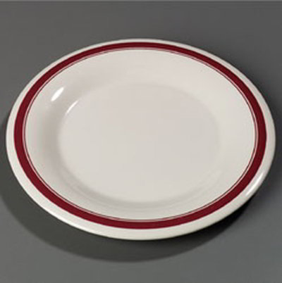"Carlisle 43013907 9"" Durus Dinner Plate - Wide Rim, Melamine, Roma on Bone"