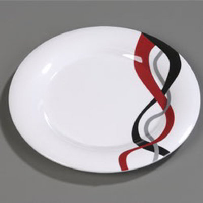 "Carlisle 43013915 9"" Durus Dinner Plate - Wide Rim, Melamine, Twist on White"
