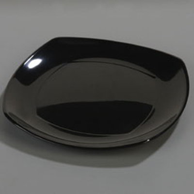 "Carlisle 4330403 11-1/2"" Square Dinner Plate - Melamine, Black"