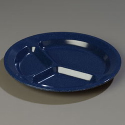 "Carlisle 4351235 11"" Dallas Ware (3)Compartment Plate - Melamine, Cafe Blue"