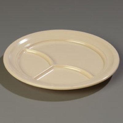 """Carlisle 4351425 9-3/4"""" Dallas Ware (3)Compartment Plate - Melamine, Tan"""