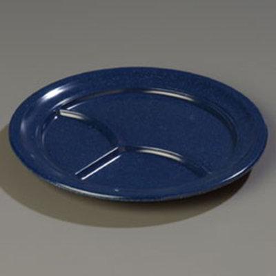 """Carlisle 4351435 9-3/4"""" Dallas Ware (3)Compartment Plate - Melamine, Cafe Blue"""