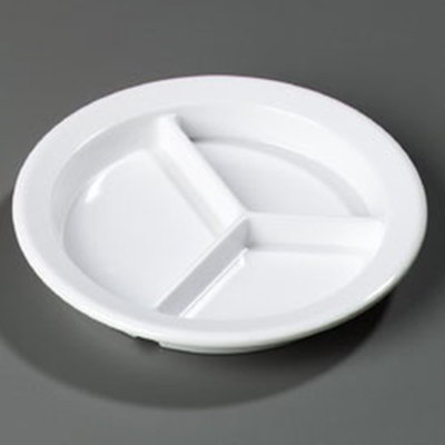 "Carlisle 4351602 9"" Dallas Ware (3)Compartment Plate - Melamine, White"