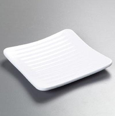 "Carlisle 4382202 6-1/4"" Epicure Square Plate - Melamine, White"