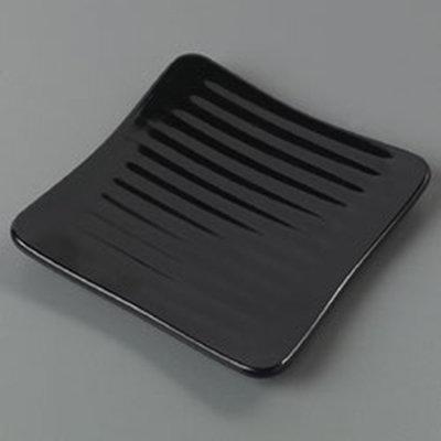 "Carlisle 4382203 6-1/4"" Epicure Square Plate - Melamine, Black"