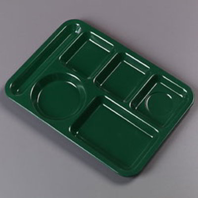 "Carlisle 4398008 Rectangular (6)Compartment Tray - Left-Handed, 14x10"" Forest Green"