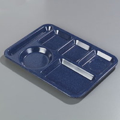 "Carlisle 4398035 Rectangular (6)Compartment Tray - Left-Handed, 14x10"" Cafe Blue"