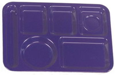 "Carlisle 4398050 Rectangular (6)Compartment Tray - Left-Handed, 14x10"" Dark Blue"