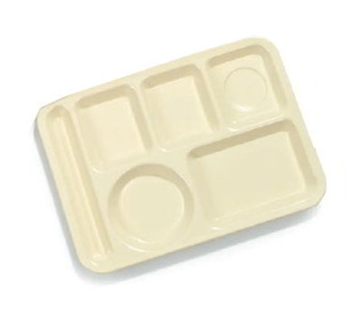 "Carlisle 4398004 Rectangular (6)Compartment Tray - Left-Handed, 14x10"" Yellow"