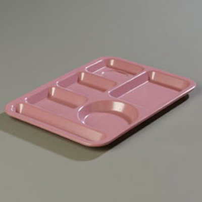 "Carlisle 4398193 Rectangular (6)Compartment Tray - Left-Handed, 14x10"" Rose Granite"