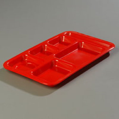 "Carlisle 4398205 Rectangular (6)Compartment Tray - Right-Handed, 15x9"" Red"