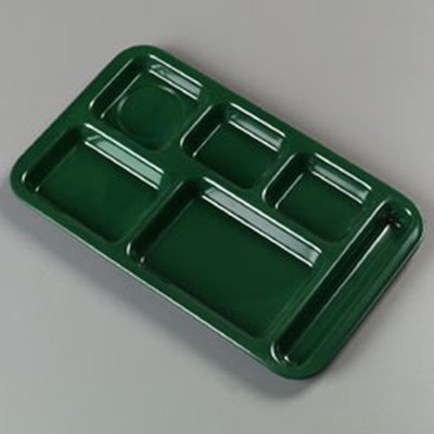 "Carlisle 4398208 Rectangular (6)Compartment Tray - Right-Handed, 15x9"" Forest Green"