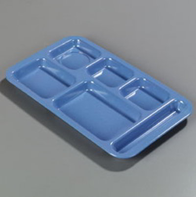 "Carlisle 4398392 Rectangular (6)Compartment Tray - Right-Handed, 15x9"" Sandshades"