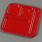 "Carlisle 4398405 (4)Compartment School Tray - Right-Handed, 10-1/9x9-25/32"" Red"