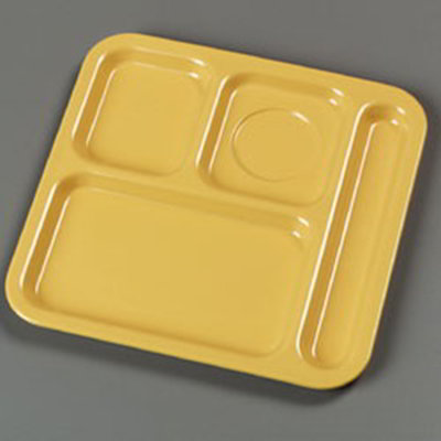 "Carlisle 4398422 (4)Compartment School Tray - Right-Handed, 10-1/9x9-25/32"" Honey Yellow"