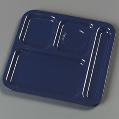 "Carlisle 4398450 (4)Compartment School Tray - Right-Handed, 10-1/9x9-25/32"" Dark Blue"