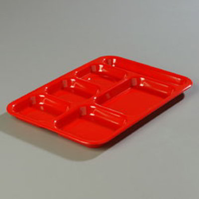 "Carlisle 4398805 (6)Compartment Tray - Right-Handed, 14-1/2x10"" Red"