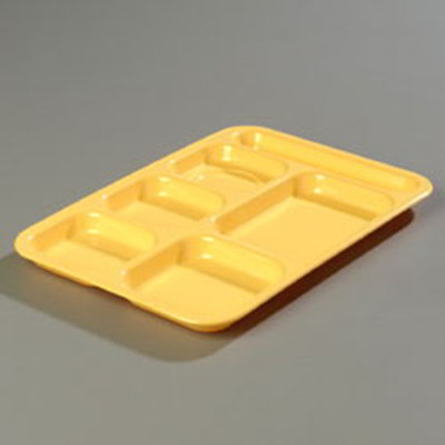 "Carlisle 4398834 (6)Compartment Tray - Right-Handed, 14-1/2x10"" Bright Yellow"