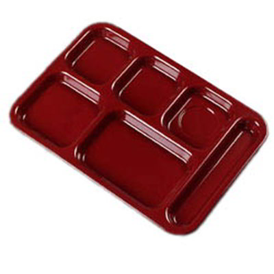 """Carlisle 4398885 (6)Compartment Tray - Right-Handed, 14-1/2x10"""" Dark Cranberry"""